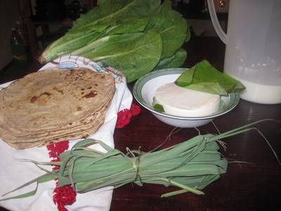 Fresh whole wheat tortillas, beautiful lettuce from a sweet lady's garden, homemade cheese, fresh milk from a cow, and some lemon grass.  All this cost US 4 dollars!!  I will never complain again about the lack of conveniences in my life :)