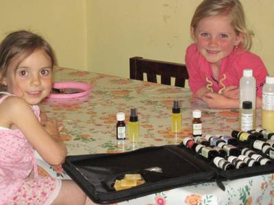 The girls have been BEGGING me to make them their very own facial oil.  So, that's what we did the other day!