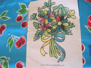 On a completely different subject--WHILE I was writing my last post about the flowers, Molly was coloring her little heart out during rest time.  As soon as I finished she ran up to me (of course having no clue about any of the flower vision or anything) and handed me this picture!!!  AH!  It touched me.