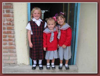 All my BIG girls in their uniforms, ready for school!  Jenna is in preschool, Molly in kindergarten and Lauryn in first grade!