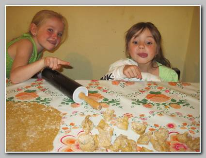 Goofy girls.  One important suggestion---use white flour.  These were quite heavy because I used whole wheat.  We ate them but they would have been so much better with white flour :)
